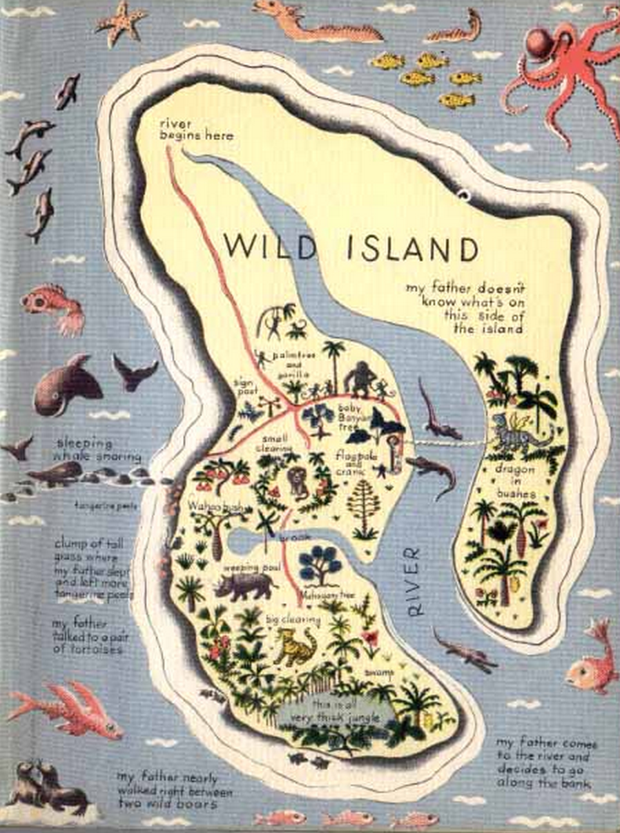 The Endpapers Contain A Beautiful Illustration Of The Island Of Tangerina  And Wild Island The Map Is Filled With Interesting Real And Fictional  Creatures