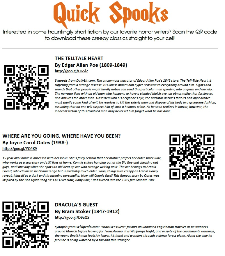 Scan me qr codes in the school library spookes fandeluxe Images