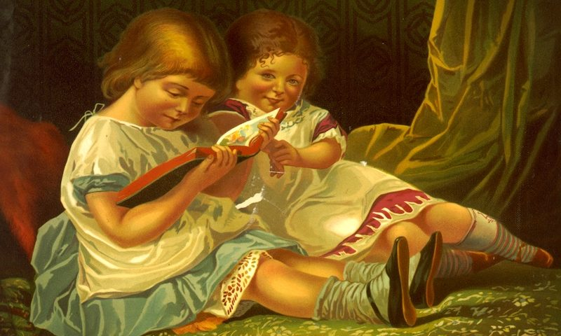 Two children reading. Library of Congress.