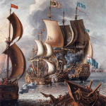 The painting is A Sea Fight with Barbary CorsairsbyLaureys a Castro, c. 1681