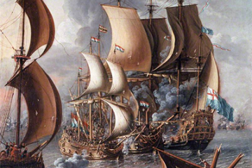 The painting is A Sea Fight with Barbary Corsairs by Laureys a Castro, c. 1681